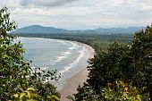 picture of shoreline  - Karambunai beach shoreline seen from the peak of a hill at Rasa Ria Resort Tuaran Sabah - JPG