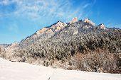 stock photo of pieniny  - Winter Landscape In Pieniny Mountains Three Crowns Poland - JPG