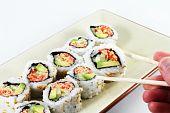Hand und Sushi