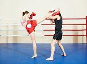 picture of boxing ring  - muai thai women fighting at training boxing ring - JPG
