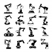 foto of robotics  - set of 16 robotic arm icons - JPG