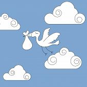 picture of stork  - Vector illustration of a stork carrying a baby in cloudy sky - JPG