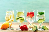 stock photo of differences  - Glasses of different home made freshness healthy vitamin - JPG