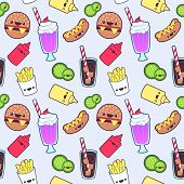 picture of kawaii  - Vector seamless cute kawaii food pattern design - JPG