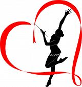 foto of gymnastic  - gymnast athlete in the heart of red ribbon logo - JPG