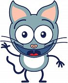 foto of cat-tail  - Cute gray cat in minimalistic style with big ears - JPG