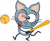 image of eye-wink  - Cute gray cat in minimalistic style with pointy ears - JPG
