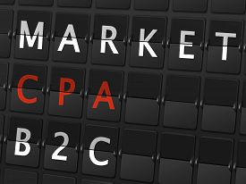 image of cpa  - market CPA B2C words on airport board background - JPG