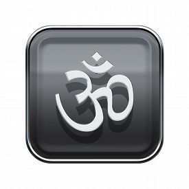 picture of om  - Om Symbol icon glossy grey isolated on white background - JPG