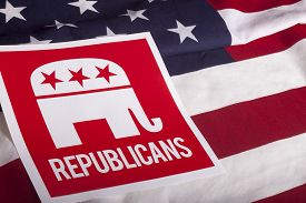 image of election  - Republican election on textured American flag  - JPG