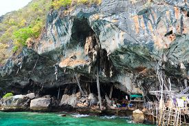 image of swallow  - A cave in Koh Lao Liang Tai island in Andaman Sea near Phuket used for harvesting swallow - JPG