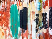 Retro Background Metal Fence Painted With Paints Of Different Colors. Grunge Textures And Background poster