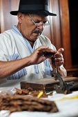 stock photo of tobaco leaf  - older senior man making luxury handmade cuban cigare - JPG