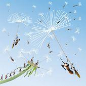 Formigas voam em Leão no inexplorado. Vector.