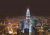 foto of petronas twin towers  - Twin towers at Kuala Lumpur  - JPG