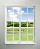 stock photo of house woods  - Modern residential window with lake view  - JPG
