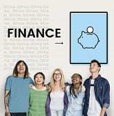 Group of people with illustration of economy financial planning piggy bank poster
