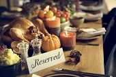 Reserved Sign Roasted Turkey Thanksgiving Table Setting Concept poster