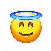 Isolated Yellow Delightful Smiley Face With Angle Halo Icon poster