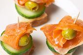 salmon #2 (closeup of three salmon sandwiches on the plate)