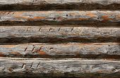 Closeup of aged wood wall (blockhouse)