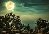 Landscape Of Rock Against Blue Sky And Full Moon Above Wilderness Area In Forest. Cross Process. poster
