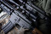 American Machine Gun In Army Background . poster