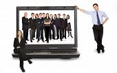 stock photo of computer-screen  - business online network team on a laptop computer  - JPG