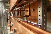 foto of busbar  - Copper busbar. Used for power plants or energy production