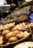 foto of bbq party  - Trays of barbecue food for outdoor party - JPG