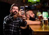 Online Communication. Send Selfie To Friends Social Networks. Man In Bar Drinking Beer. Take Selfie  poster