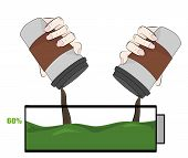 Coffee Charges The Battery. Concept Of Coffee Energizes. Vector Illustration. poster