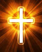 Постер, плакат: светящийся крест на черном фоне с радиальным лучи света