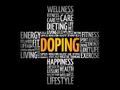 Doping Word Cloud Collage, Health Cross Concept Background poster