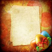 stock photo of easter card  - Easter card for the holiday with egg on the abstract background - JPG