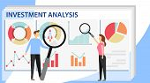 Investment Analysis Concept Banner With Characters. Commerce Solutions For Investments, Analysis Con poster