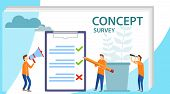 Survey Concept Banner With Characters. Survey Vector Illustration. Flat Mini Persons Concept With Qu poster