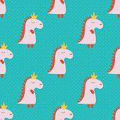 Cartoon Pattern With Pink Cartoon Baby Dinosaur Pattern On Green Background. Dinosaur Baby Girl Cute poster