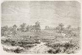 Sao Jose da Barra do Rio Negro old view, Brazil (at present days Manaus). Created by Riou, published on Le Tour du Monde, Paris, 1867
