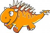 Crazy Insane Orange Dinosaur Vector illustration