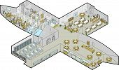 Office Building Ground Floor Vector Isometric