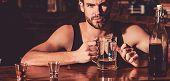 Having Some Beer. Alcohol Addict With Beer Mug. Man Drinker In Pub. Handsome Man Drink Beer At Bar C poster