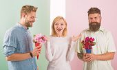 Girl Popular Receive Lot Men Attention. Woman Smiling Has Opportunity Choose Partner. Men Competitor poster
