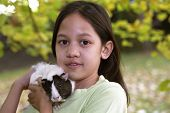 picture of guinea pig  - Child with guinea pigs joy with the pet - JPG