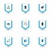 Communication Icons Colored Set With Linked Computers, Online Communication, Telephone And Other Con poster
