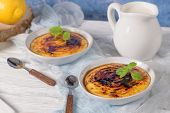 Leite Creme, Portuguese Desert Similar To Creme Brulee, Cream Brulee And Burnt Cream. poster