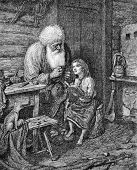 The old man and his granddaughter. Engraving by Multanovsky from picture by painter Shakhovsky. Publ