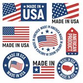 Made In Usa Labels, Badges, Signs. Usa Flag Icons. Americans Emblems Templates. Vector Illustration. poster