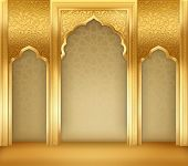 Ramadan Background With Golden Arch, With Golden Arabic Pattern, Background For Holy Month Of Muslim poster
