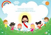 Jesus Christ And Group Of Happy Children, Multicultural Kids In The Background. Template For Adverti poster